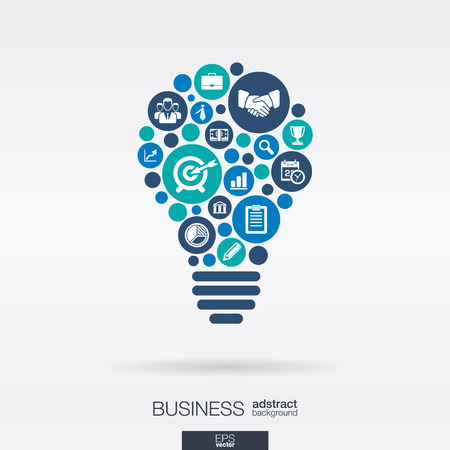 idea: Color circles, flat icons in a idea bulb shape: business, marketing research, strategy, mission, analytics concepts.