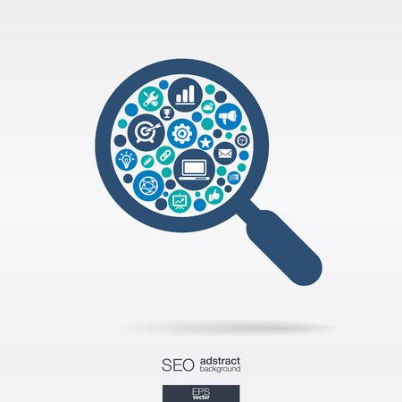 Círculos de colores, iconos planos en una forma de vidrio de la lupa: Tecnología, SEO, red, digital, análisis, datos y conceptos de mercado. Ilustración de vector