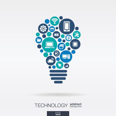 bombilla: Círculos de colores, iconos planos en forma de bulbo idea: tecnología, computación en nube, concepto digital.