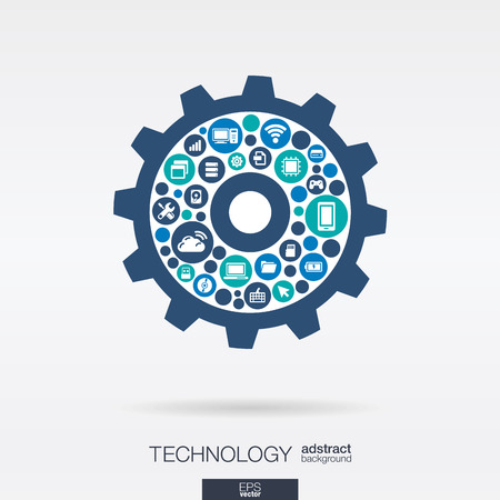 Color circles, flat icons in cogwheel shape: technology, cloud computing, digital mechanism concept.  Vettoriali