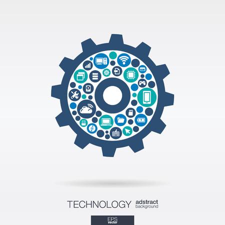 Cercles de couleur, icônes de forme plate crémaillère: la technologie, le cloud computing, le concept de mécanisme numérique. Vecteurs