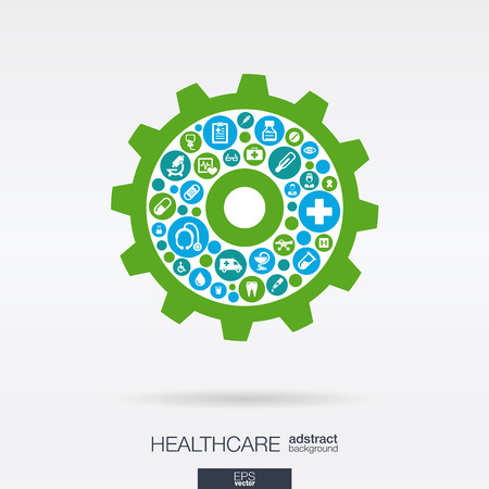 Color circles with flat icons in a cogwheel shape: medical, health, healthcare mechanism concepts.