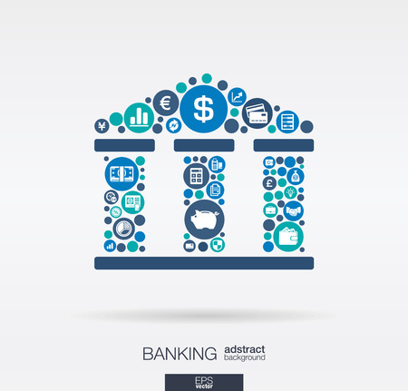 Color circles, flat icons in a bank building shape: banking, money, card, business and finance concept.  Illustration
