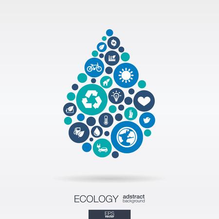 Círculos de colores, iconos planos en forma de gota de agua: ecología, tierra, naturaleza, eco, conceptos de protección ambiental