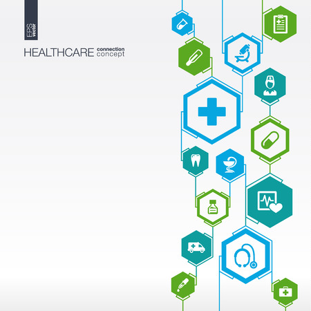 Hexagon abstract. healthcare, nurse, DNA, pills connected symbols.