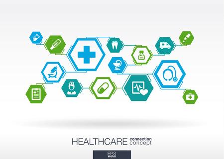 chăm sóc sức khỏe: Hexagon trừu tượng. Y học nền với đường, đa giác, và tích hợp các biểu tượng phẳng. Khái niệm Infographic với y tế, sức khỏe, y tế, y tá, DNA, thuốc kết nối các biểu tượng. Minh hoạ vector.