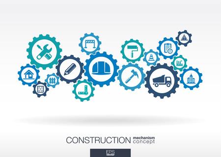 engranes: Mecanismo de construcción. Resumen de antecedentes con engranajes conectados y iconos planos integrados. Símbolos conectados para conceptos de construcción, industria, arquitectónicos, de ingeniería. Ilustración vectorial