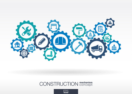 Construction mechanism. Abstract background with connected gears and integrated flat icons. Connected symbols for build, industry, architectural, engineering concepts. Vector illustration Vettoriali