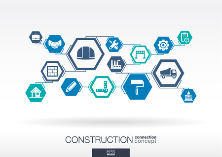 estimate: Construction network. Hexagon abstract background with lines, polygons, and integrated flat icons. Connected symbols for build, industry, architectural, engineering concepts. Vector illustration