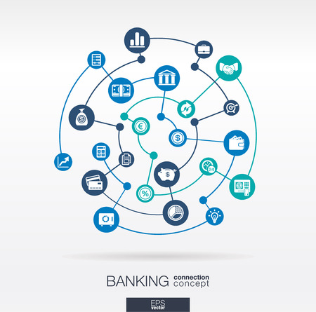 finances: Banking network. Circles abstract background with lines and integrate flat icons. Connected symbols for money, card, bank, business and finance concepts. Vector interactive illustration