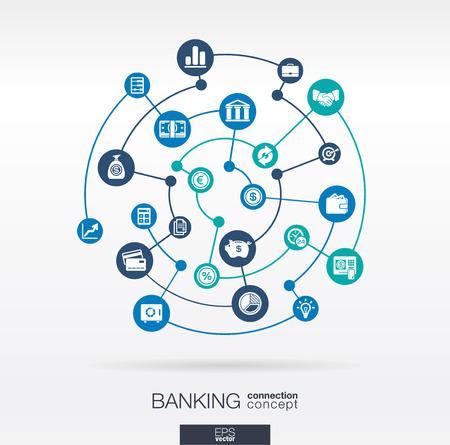 banco dinero: Red bancaria. C�rculos de fondo abstracto con l�neas e integrar iconos planos. S�mbolos conectados para los conceptos de dinero, de tarjetas, bancos, negocios y finanzas. Vector ilustraci�n interactiva