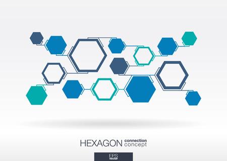 事業会社、デジタル、インタラクティブなネットワークの統合された多角形と六角形の背景を抽象化、接続、社会的なメディア、技術、世界的な概