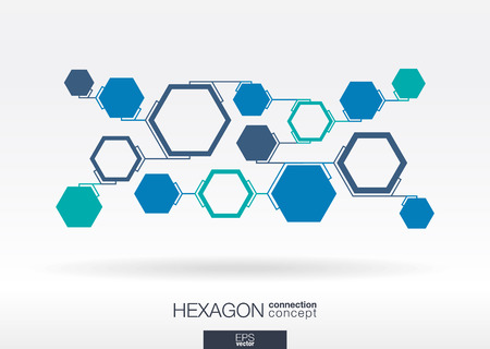 work team: Abstract hexagon background with integrated polygons for Business Company, digital, interactive, network, connect, social media, technology and global concepts.