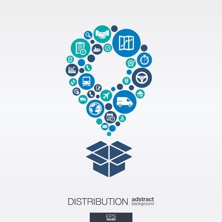 Kleur cirkels, vlakke pictogrammen in een map pointer en doos vorm: distributie, levering, service, scheepvaart, logistiek, transport, marktconcepten. Abstracte achtergrond, verbonden voorwerpen. Vector illustratie.
