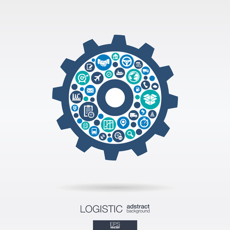 Color circles, icons in a cogwheel shape: distribution, delivery, service, shipping, logistic, transport, market mechanism concepts. Abstract background with connected objects. Vector illustration.