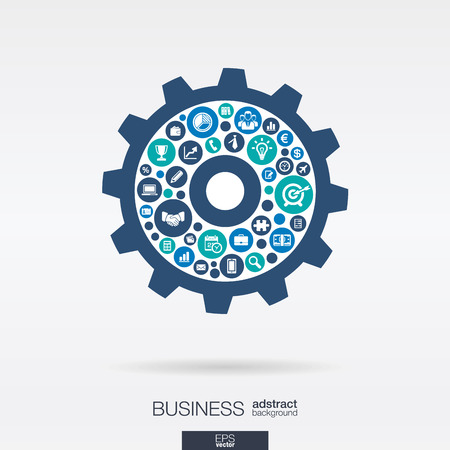 Color circles, flat icons in a cogwheel shape: business, marketing research, strategy, mission, analytics mechanism concepts. Abstract background with connected objects. Vector illustration.