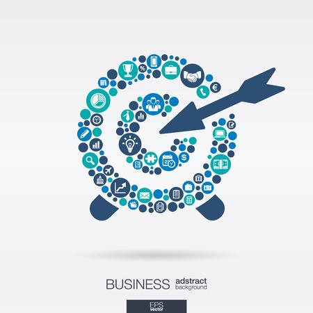 concepto: Círculos de colores, iconos planos en una forma de destino: de negocios, investigación de marketing, estrategia, misión, análisis conceptos. Resumen de fondo con objetos conectados. Vector ilustración interactiva.