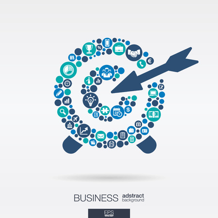 Color circles, flat icons in a target shape: business, marketing research, strategy, mission, analytics concepts. Abstract background with connected objects. Vector interactive illustration. Çizim