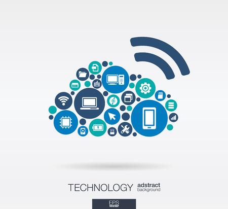 interaccion social: C�rculos de colores, iconos planos en forma de nube de computaci�n: tecnolog�a, computaci�n en nube, concepto digital. Resumen de fondo con objetos conectados en grupo integrado de elementos. Ilustraci�n vectorial