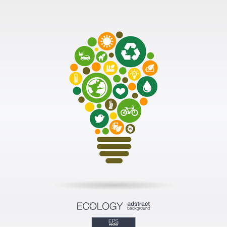 integrated group: Color circles, flat icons in a bulb shape: ecology, earth, green, recycling, nature, eco car concepts. Abstract background with connected objects in integrated group of elements. Vector illustration.