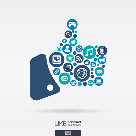 Color circles, flat icons in a like shape: technology, social media, network, computer concept. Abstract background with connected objects in integrated group of elements. Vector illustration Illustration