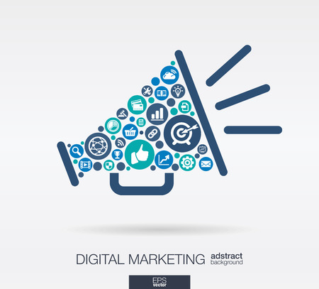 통신: 색상 원, 스피커 모양의 평면 아이콘 : 디지털 마케팅, 소셜 미디어, 네트워크, 컴퓨터 개념. 요소의 통합 된 그룹의 연결 개체와 추상적 인 배경을합니 일러스트