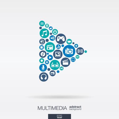 Barevné kruhy, ploché ikon ve tvaru tlačítka PLAY: multimediální, technologie, digitální, hudba, film, herní koncept. Abstraktní pozadí s připojenými objekty v integrovaném skupině. vektorové ilustrace