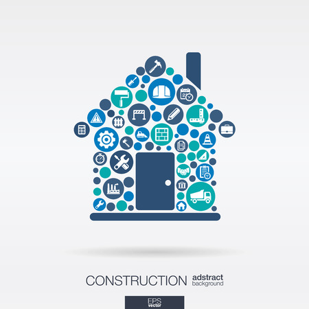 integrated group: Color circles, flat icons in a house shape: construction, build, industry, architectural, engineering concept. Abstract background with connected objects in integrated group. Vector illustration Illustration