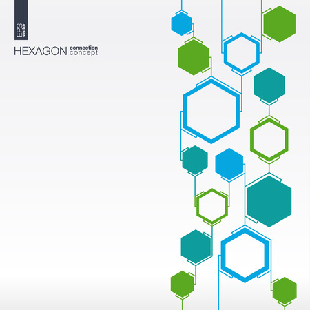 Abstract hexagon background with lines and integrated polygons for Business Company, medical, healthcare, network, connect, social media and global concepts.