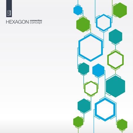 Abstrakt Hexagon Hintergrund mit Linien und Polygonen für integrierte Business Company, medizinisch, gesundheitswesen, Netzwerk, zu verbinden, soziale Medien und globale Konzepte. Standard-Bild - 43377676