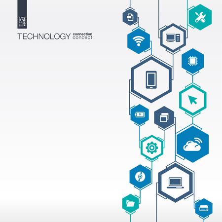 Sieć technologii. Hexagon abstrakcyjne tło z liniami, integracji płaskie ikony. Połączone symbole cyfrowe, połączyć, komunikacji, mediów społecznych i globalnych koncepcji. Wektor ilustracja interaktywna Ilustracje wektorowe