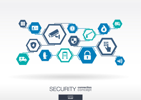 Security network. Hexagon abstract background with lines, polygons, and integrate flat icons. Connected symbols for guard, police, protection, monitoring, safety, control concepts. Vector illustration Vettoriali