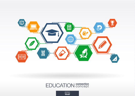 Education network. Hexagon abstract background with lines, polygons, and integrate flat icons. Connected symbols for elearning, knowledge, learn and global concepts. Vector interactive illustration