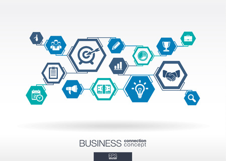 marketing strategy: Business network. Hexagon abstract background, integrate flat icons. Connected symbols for strategy, service, analytics, research, digital marketing, communicate concepts. Vector illustration.