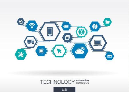 comunicarse: Tecnología de red. Hexágono fondo abstracto con líneas, integrar iconos planos. Símbolos conectados digitales, para conectarse, comunicarse, los medios sociales y conceptos globales. Vector ilustración interactiva Vectores