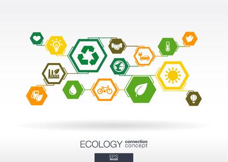 raccolta differenziata: Ecologia. Hexagon sfondo astratto con linee, poligoni e integrare le icone piane: eco-friendly, energia, ambiente, verde, riciclare, bio e concetti globali. Illustrazione interattivo.