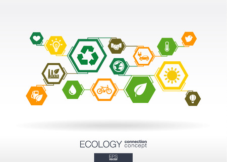 Ecology. Hexagon abstract background with lines, polygons, and integrate flat icons: eco friendly, energy, environment, green, recycle, bio and global concepts. Vector interactive illustration. 向量圖像
