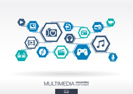 digital music: Multimedia network. Hexagon abstract background with lines, polygons, and integrate flat icons. Infographic concept with technology, digital, music, film, gaming symbols. Vector illustration.
