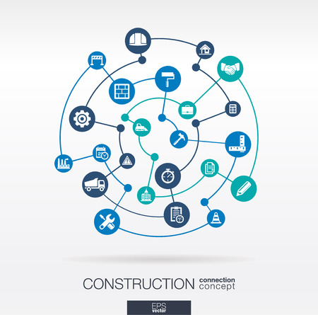 Construction network. Abstract background with lines, circles, and integrated flat icons. Connected symbols for build, industry, architectural, engineering concepts. Vector infograph illustration