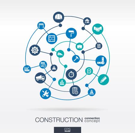 Construction Netzwerk. Zusammenfassung Hintergrund mit Linien, Kreise und integrierten Flach Symbole. Verbunden Symbole für Bau, Industrie, Architektur, Ingenieurwesen Konzepte. Vector illustration Infograph Standard-Bild - 43377681