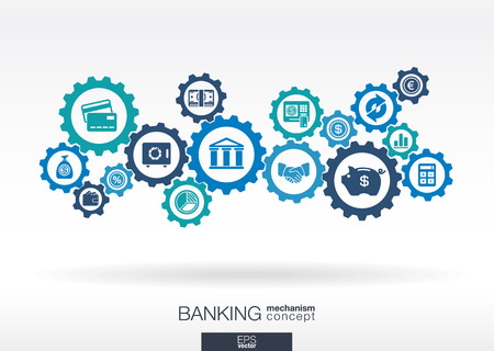 connect: Banking mechanism. Abstract background with connected gears and integrated flat icons. Connected symbols for money, card, bank, business and finance concepts. Vector interactive illustration