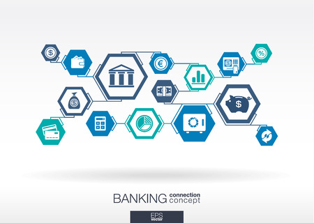 integrate: Banking network. Hexagon abstract background with lines, polygons, and integrate flat icons. Connected symbols for money, card, bank, business and finance concepts. Vector interactive illustration