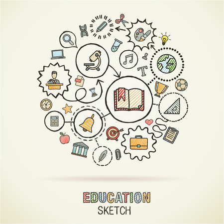 design background: Educationhand drawing connected icons. Vector doodle interactive pictogram set: sketch concept illustration on paper: elearning, knowledge, learn, analytics, network, science, social media.