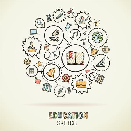 Educationhand Zeichnung verbundene Symbole. Vector doodle interaktive Piktogramm set: Skizze Konzept Illustration auf Papier: E-Learning, Wissen, lernen, Analytik, Netzwerk, Wissenschaft, soziale Medien. Standard-Bild - 43377687