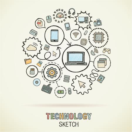 comunicarse: Mano Tecnología dibujo integrado iconos boceto. Vector Doodle conjunto pictograma interactiva. Ilustración infografía Connected en el papel:, internet, red, comunicación, medios, conceptos globales digitales