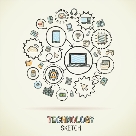 Technology hand drawing integrated sketch icons. Vector doodle interactive pictogram set. Connected infographic illustration on paper: digital, internet, network, communicate, media, global concepts