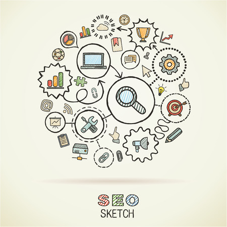SEOhand drawing integrated sketch icons. Vector doodle marketing pictogram set. Connected infographic illustration on paper: network, business, connect, analytics, social media and market concepts Иллюстрация