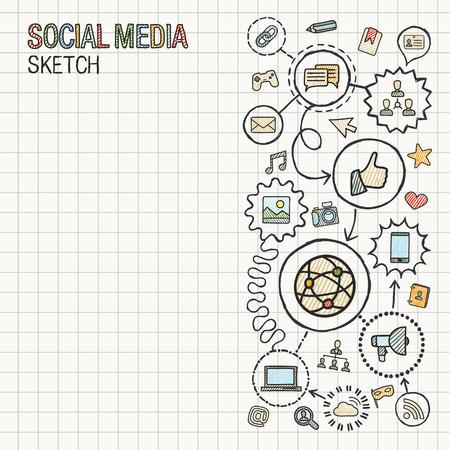 network marketing: Los medios sociales mano dibujar integrar iconos establecidos en el papel. Dibujo vectorial colorido infograf�a ilustraci�n. Conectado pictograma garabato: internet, digital, marketing, red, concepto interactivo mundial