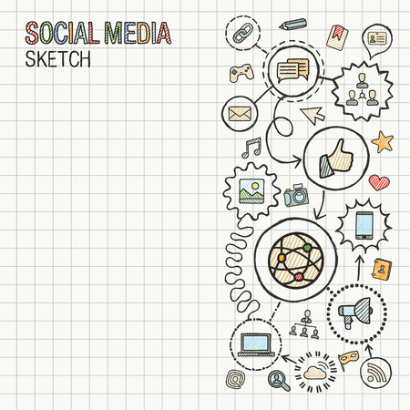 digital marketing: Social media hand draw integrate icons set on paper. Colorful vector sketch infographic illustration. Connected doodle pictogram: internet, digital, marketing, network, global interactive concept