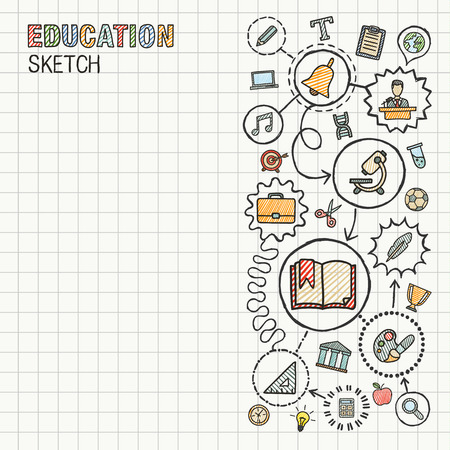 e learn: Education hand draw integrated icons set on paper. Colorful vector sketch infographic circle illustration. Connected doodle pictograms: social, elearn, learning, media, knowledge interactive concepts